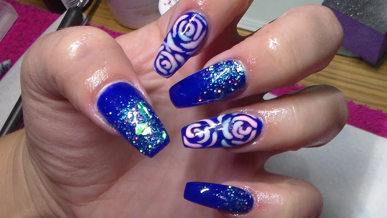 Acrylic Nails | Sculpted Coffin Shape | Blue Nail Design ...