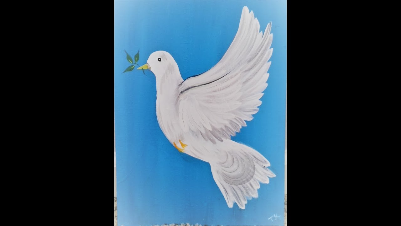 How To Paint Dove With Acrylic Easy One Stroke Dove Painting Pigeon Painting Representing Peace Youtube