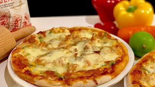 Pizza hải sản_công thức đế pizza chuẩn,cho bánh giòn xốp dai dai_Bếp Hoa