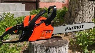 Обзор бензопилы PATRIOT PT 3818. Натяжение цепи. Приготовление бензиновой смеси. Пила.