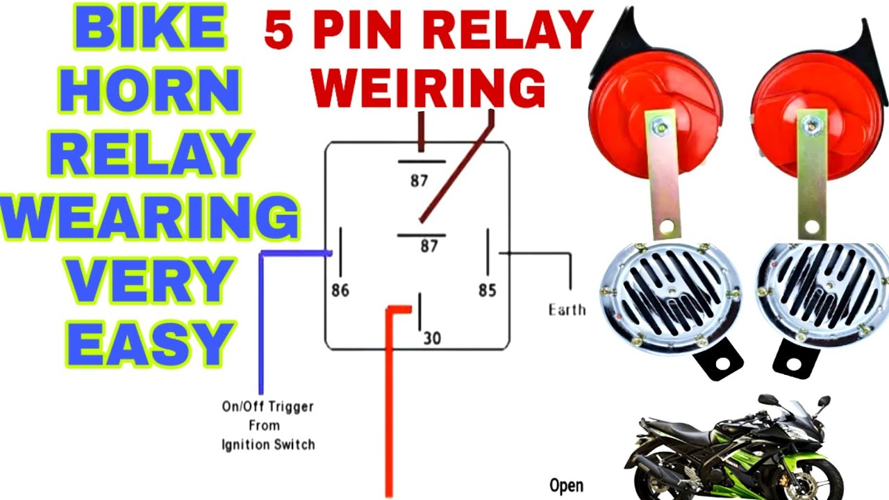 Bike Horn Relay WEIRING | 5 Pin Relay WEIRING | Horn Relay Kaise Lagaye | -  YouTubeYouTube