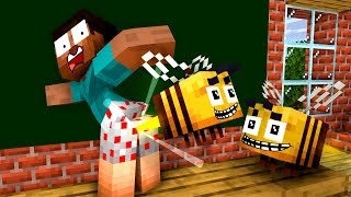Monster School: Buzzy Bees and Honey - Minecraft Animation