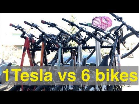 Tesla Model X vs 6 BIKES