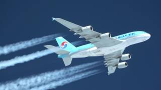 Korean Airlines A380 Contrails (Up Close)