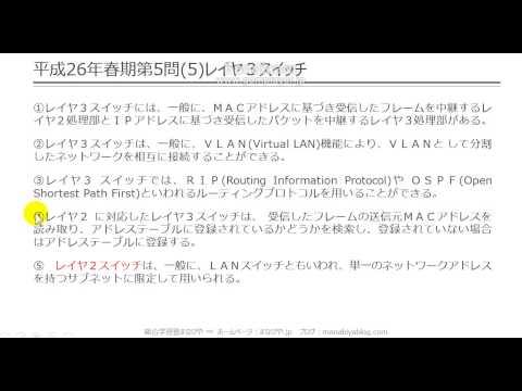 【工担・総合種】平成26年春_技術_5-5(レイヤ3スィッチ)