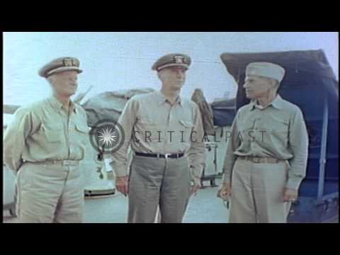 US Admiral Chester W. Nimitz and US Fleet Admiral Ernest King aboard a cruiser of...HD Stock Footage