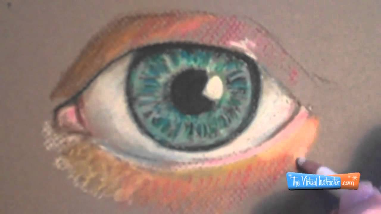 how to draw with pastel pencils eye demonstration youtube