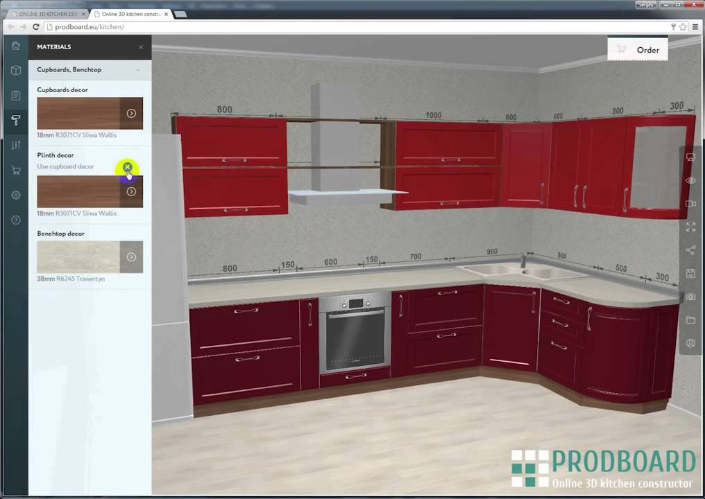 PRODBOARD Online kitchen planner 3D kitchen design