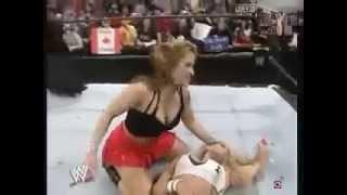 Girls kissing in  wrestling match