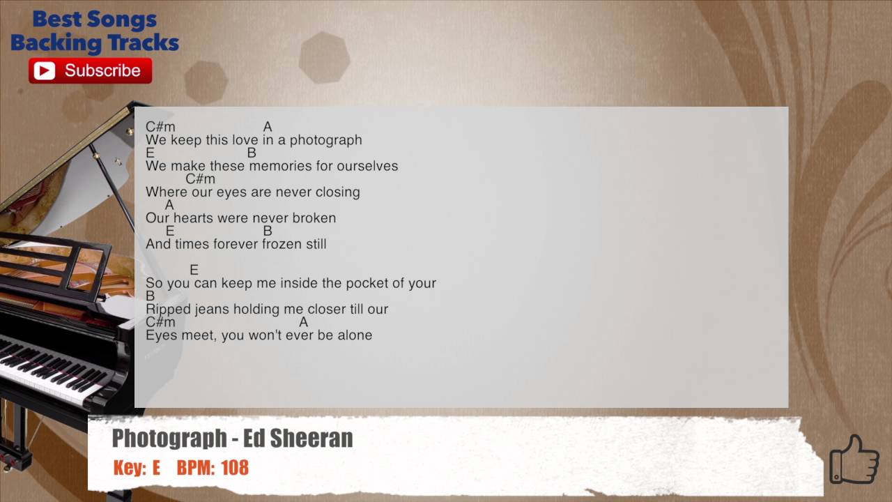 Photograph Ed Sheeran Piano Background Guitar Backing Track With