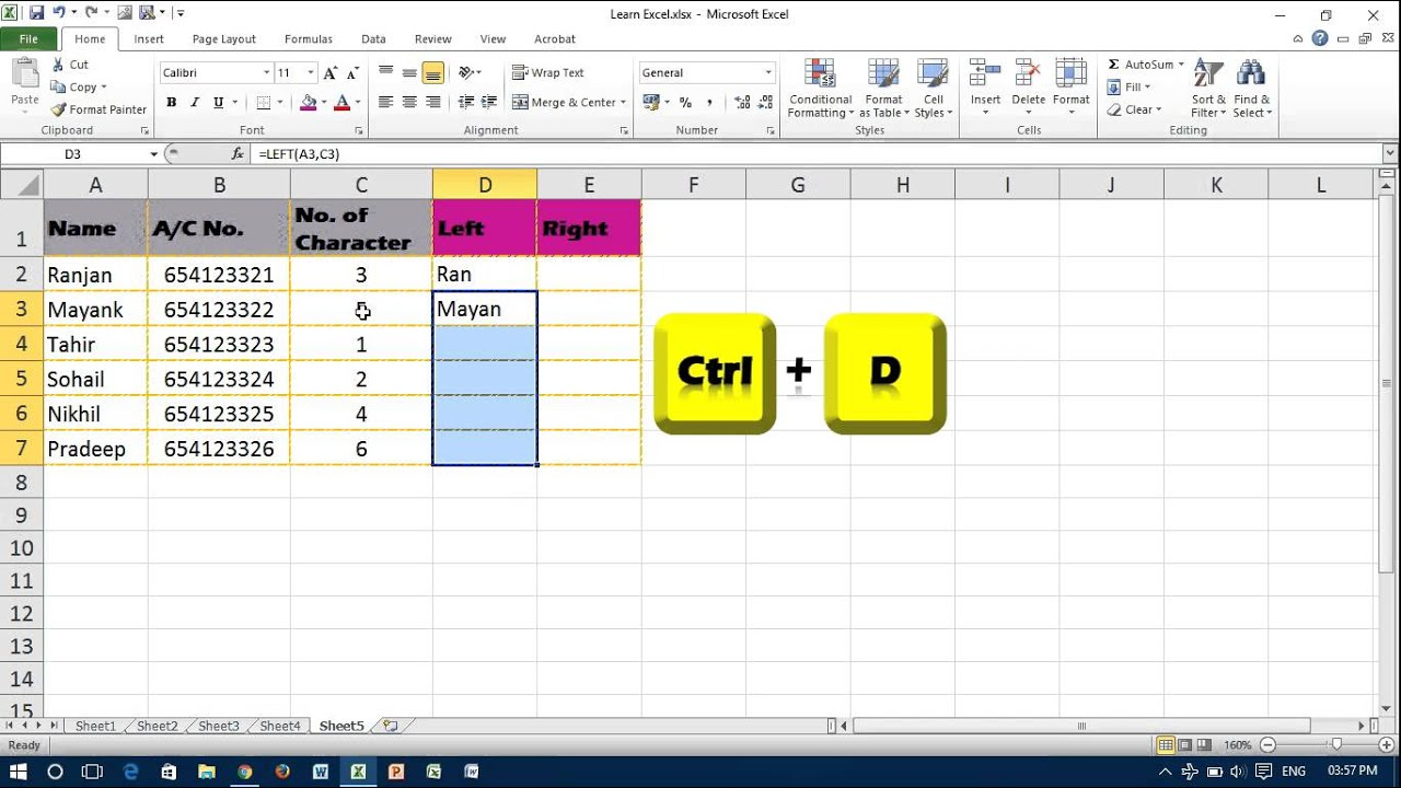 Extract Text with Left, Right Function in Excel - YouTube