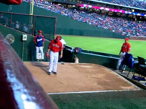 CJ Wilson warming up for the Texas Rangers
