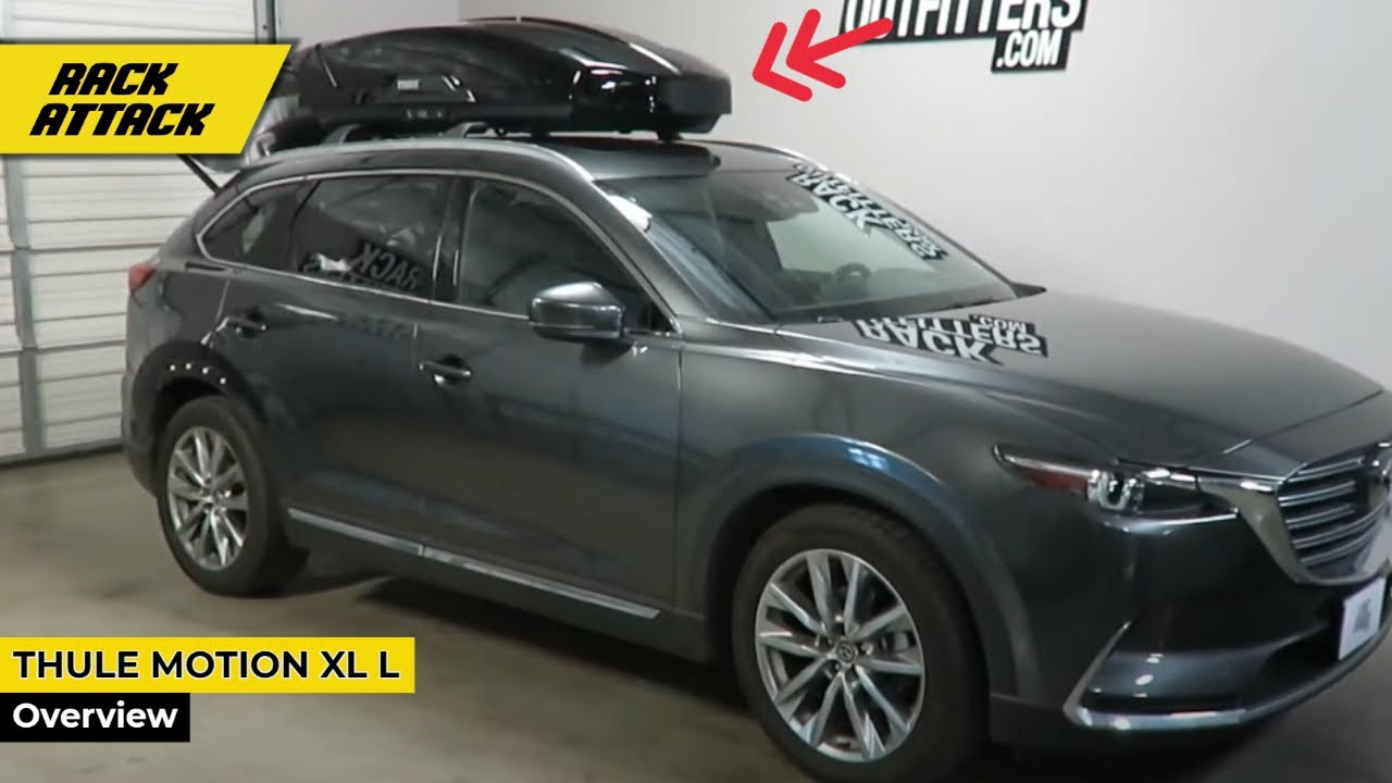 Mazda Cx 9 With Thule Motion Xt L 16 Cubic Foot Roof Top Cargo Box Rack Outers