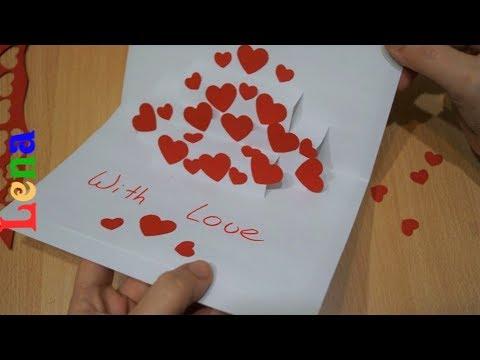 Karte Zum Valentinstag Basteln Pop Up Diy Valentines Day Catd Diy как сделать валентинку