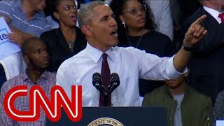 Obama calms supporters when Trump protester appears