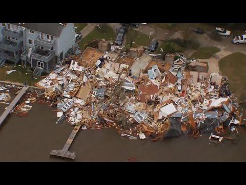 Aerial video of tornado damage in Pensacola, Florida