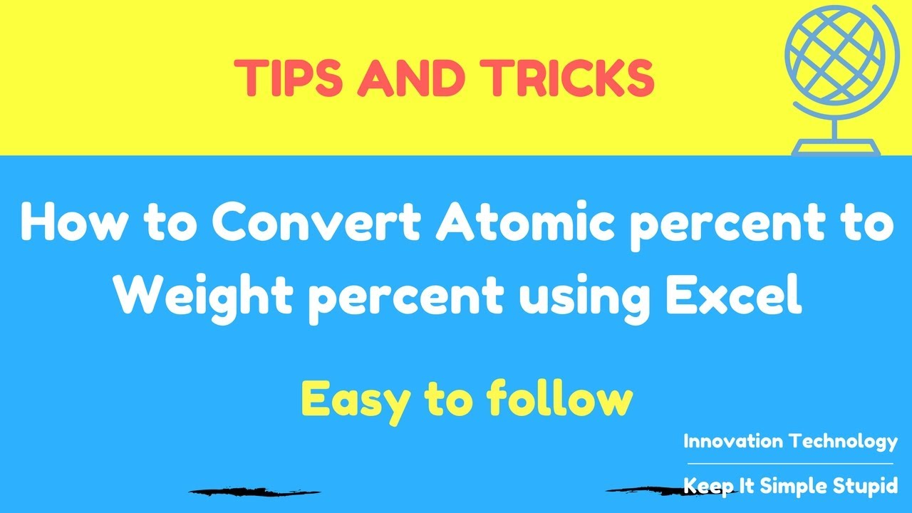 how to convert atomic percent to weight percent fast using excel