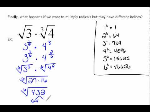 Multiplying Radicals With Different Index 6 3 Youtube
