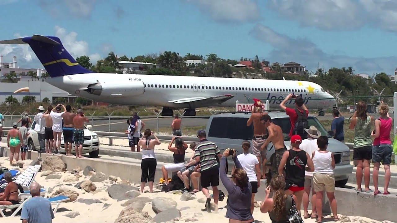 Jet Blast Departure Rwy 10 St Maarten Sunset Beach Youtube