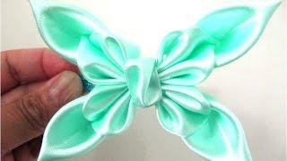 Repeat youtube video Moños en cintas para el cabello  mariposas primaverales