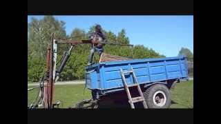 Самодельный кран к трактору. Погрузка леса(, 2014-05-13T09:06:24.000Z)