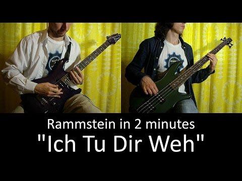22) Rammstein - Ich Tu Dir Weh (Guitar & Bass cover + TAB   lesson HD)