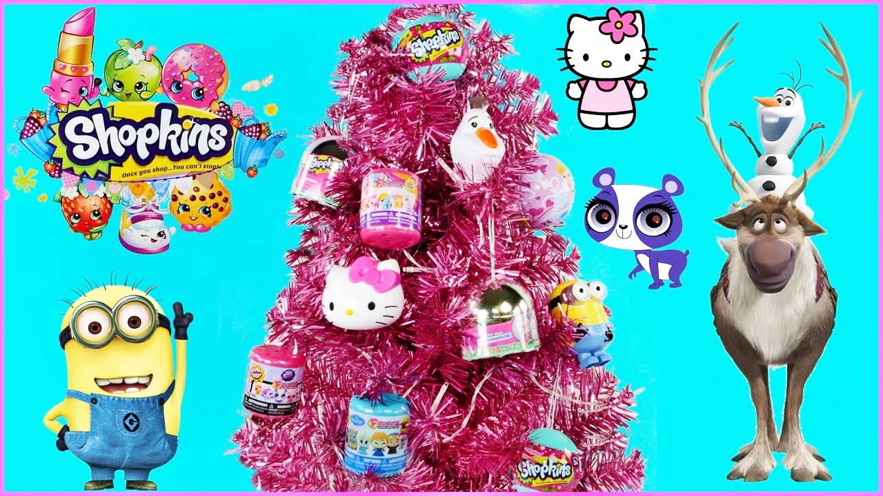 Disney frozen ornaments - Cute Pink Christmas Tree W Surprise Toy Ornaments Disney Frozen Shopkins Hello Kitty Toy Opening