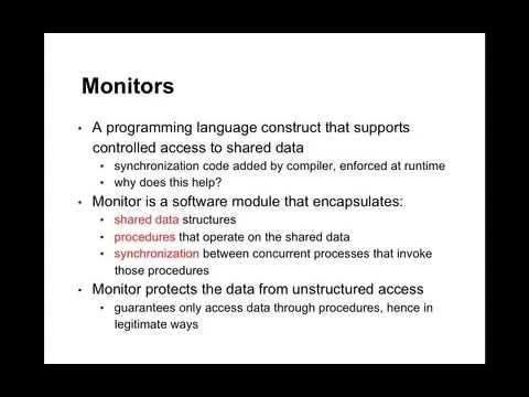 Lecture 3, Unit 1: Introduction to condition variables and monitors
