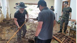 아침부터 피해 복구 작업 구슬땀…또 폭우 예보에 우려 / 연합뉴스TV (YonhapnewsTV)