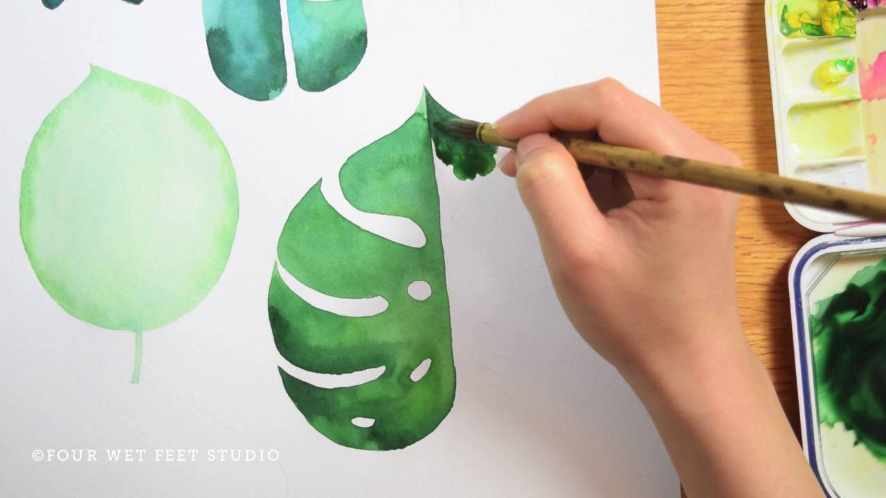Painting Tropical Leaves Youtube Buy fabric, wallpaper and home decor and view projects featuring unique monstera leaf designs. painting tropical leaves