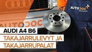 Kuinka vaihtaa taka jarrulevyt, taka jarrupalat AUDI A4 B6 -merkkiseen autoon OHJEVIDEO | AUTODOC