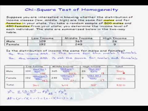 Example Of A Chi Square Test Of Homogeneity Youtube