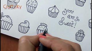 How to draw cute cupcake doodles | doodle art | cupcakes Doodle