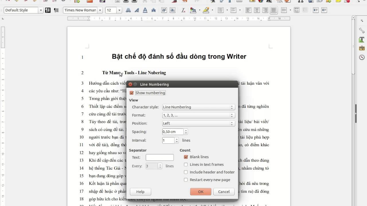 Bật tắt chế độ đánh số đầu dòng trong Writer