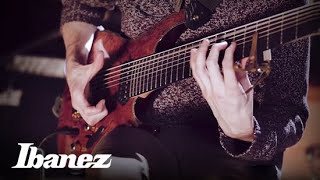 josh martin of little tybee glitch tapping on his ibanez six28fdbg