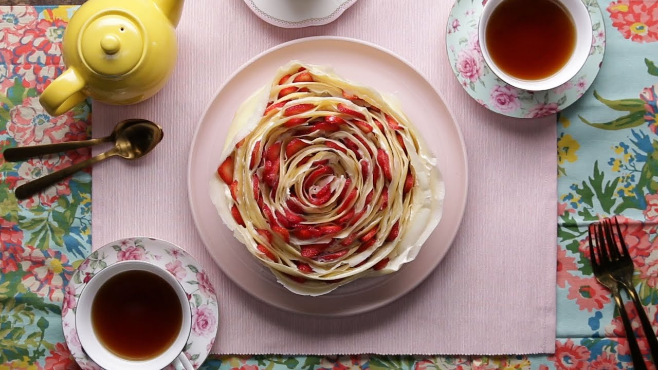 maxresdefault - Rose Strawberry Crepe Cake