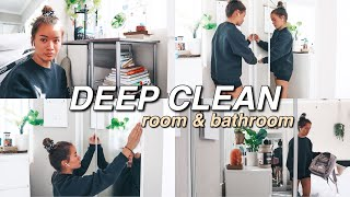 DEEP CLEAN MY ROOM & BATHROOM WITH ME! | (SATISFYING  lol) Spring Cleaning, De-Clutter/Organizing!