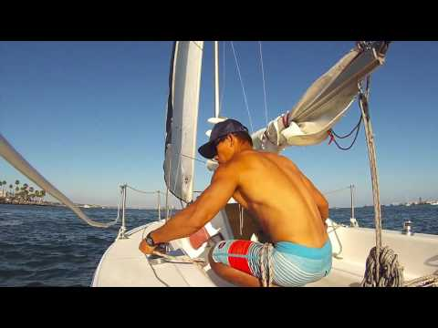 Sailing solo on a Catalina Capri 22, Independence day Long Beach, Raw footage