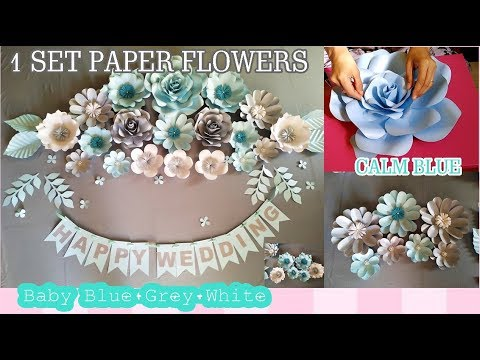 DIY 1 SET CALM BLUE PAPER FLOWERS BUAT BACKDROP WEDDING by Farida FR
