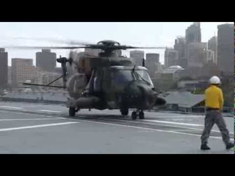 HMAS Canberra - First helicopters NH90 and MH-60 Seahawk landings