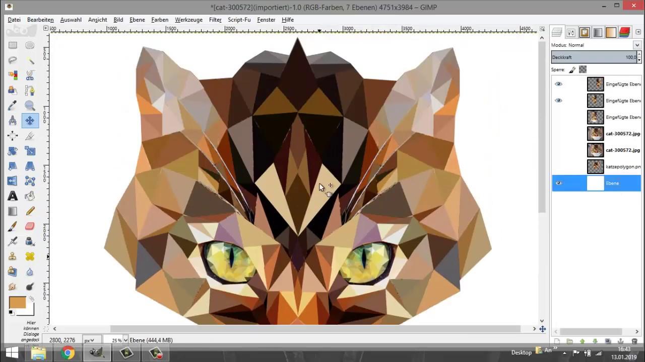 gimp tutorial low poly art polygon youtube logo erstellen vektorgrafik computer vektor