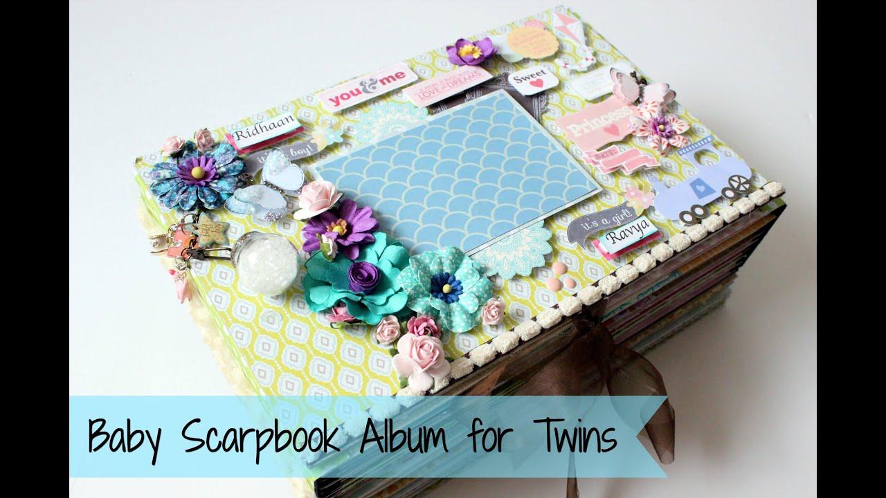 How to scrapbook a baby album - Baby Scrapbook Album For Twin Babies Big Size Paper Crafts