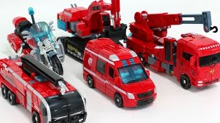 Red Color Century of Deformation Fire Rescue Corps Vehicle Transformers Combine Robots Car Toys