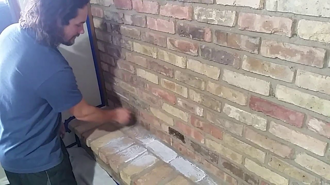 How To Whitewash A Brick Fireplace Youtube