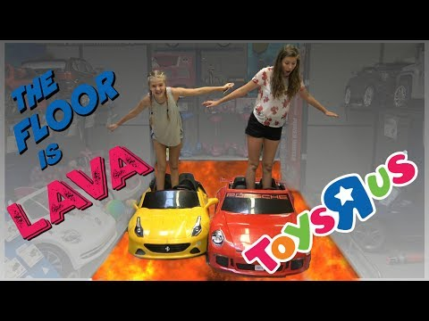 THE FLOOR IS LAVA CHALLENGE AT TOYS R US || Taylor and Vanessa
