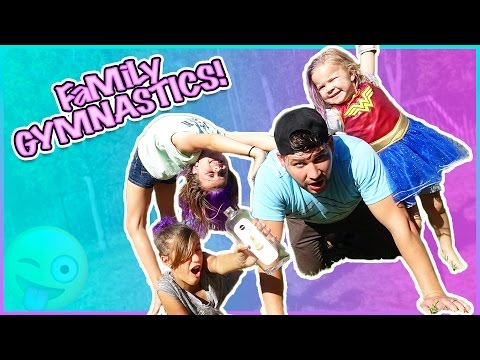 SUPER SLIPPERY FAMILY GYMNASTICS CHALLENGE!!