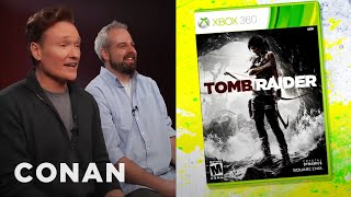 "Conan gets so into ""Tomb Raider"" that he's heartbroken whenever Lara Croft dies. Which happens a lot. More Cluess Gamer ..."