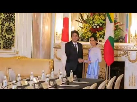 Myanmar's Aung San Suu Kyi meeting Japan PM Shinzo Abe