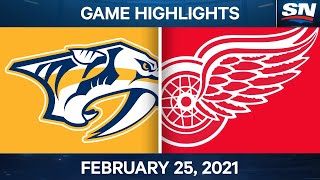 NHL Game Highlights | Predators vs. Red Wings - Feb. 25, 2021