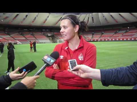 Canada vs Mexico  Interviews Christine Sinclair and Melissa Tancredi
